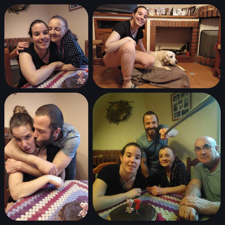 Cuatro fotografías de una familia
